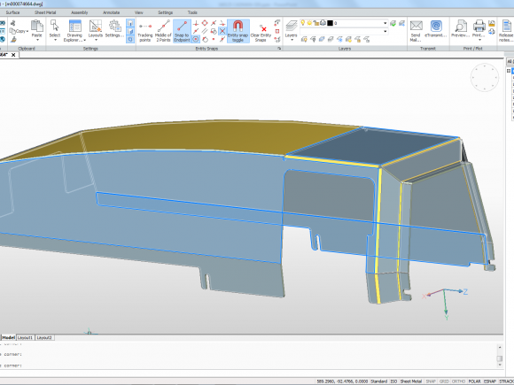 LVD CADMAN-SDI features BrisCAD®, a 3D direct modeling CAD package