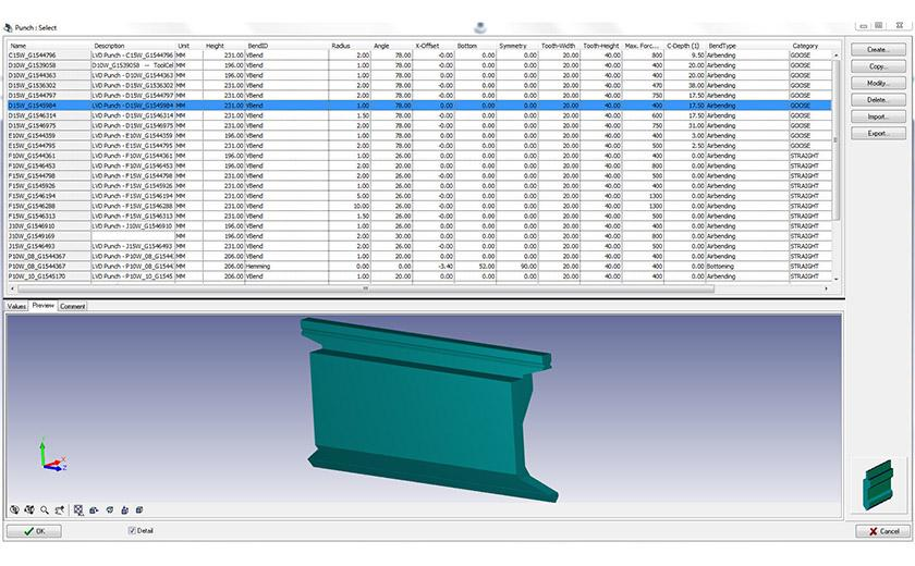 LVD bending software offers automatic calculation of tool setup